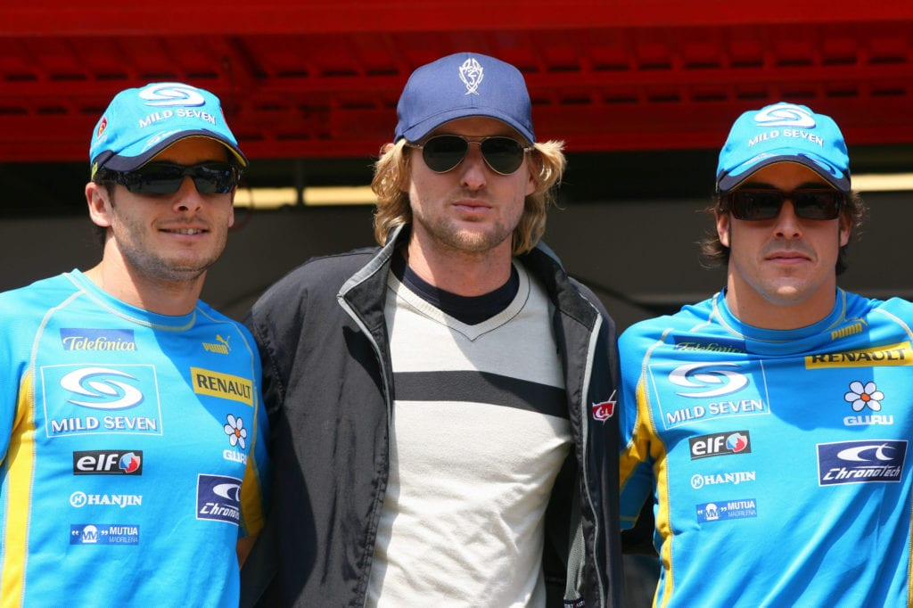 Giancarlo Fisichella and Alonso with Hollywood's Owen Wilson © XPB Images