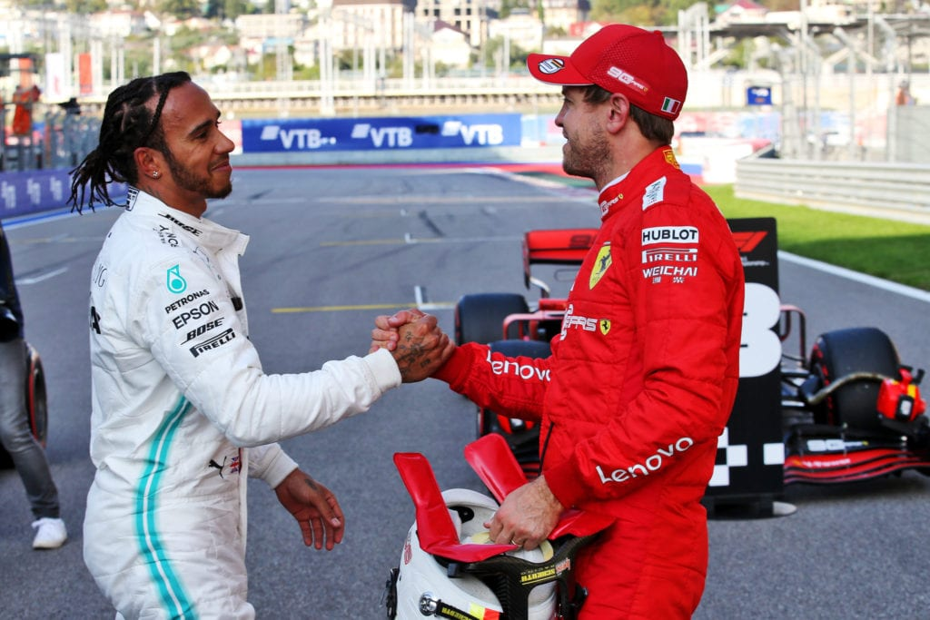 Lewis Hamilton with Sebastian Vettel at the 2019 Russian Grand Prix © XPB Images