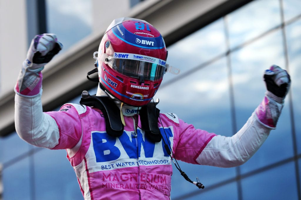 Lance Stroll celebrates his pole position in qualifying parc ferme © XPB Images