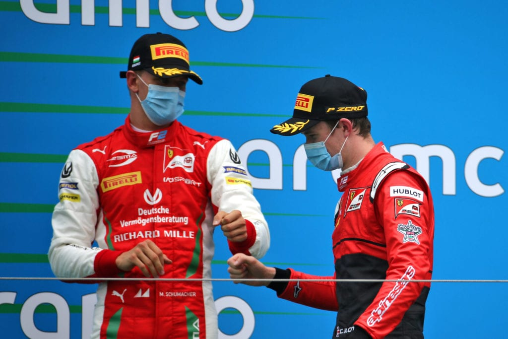 Mick Schumacher with Callum Ilott on the podium at Hungary © XPB Images