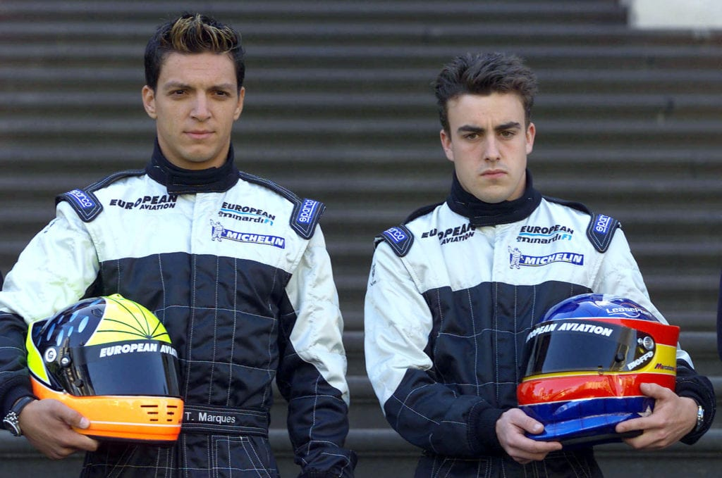 Fernando Alonso (R) pictured with his Minardi teammate Tarso Marques before his 2001 F1 debut  © XPB Images
