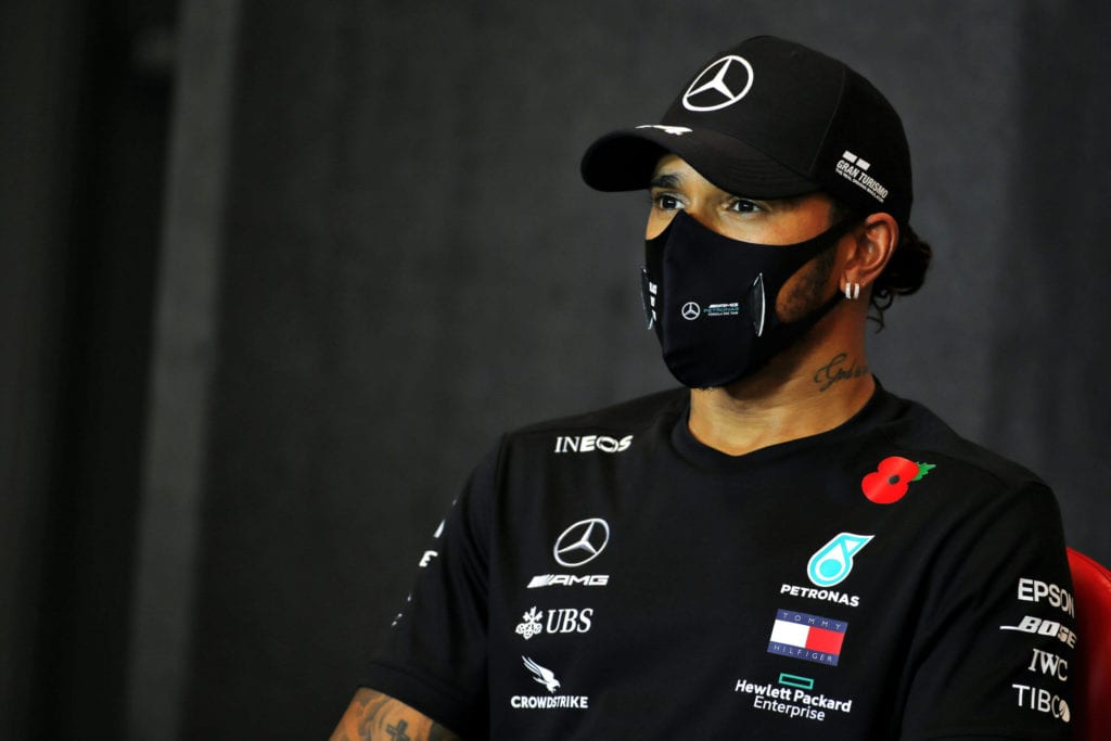 Lewis Hamilton in an FIA Press Conference © XPB Images
