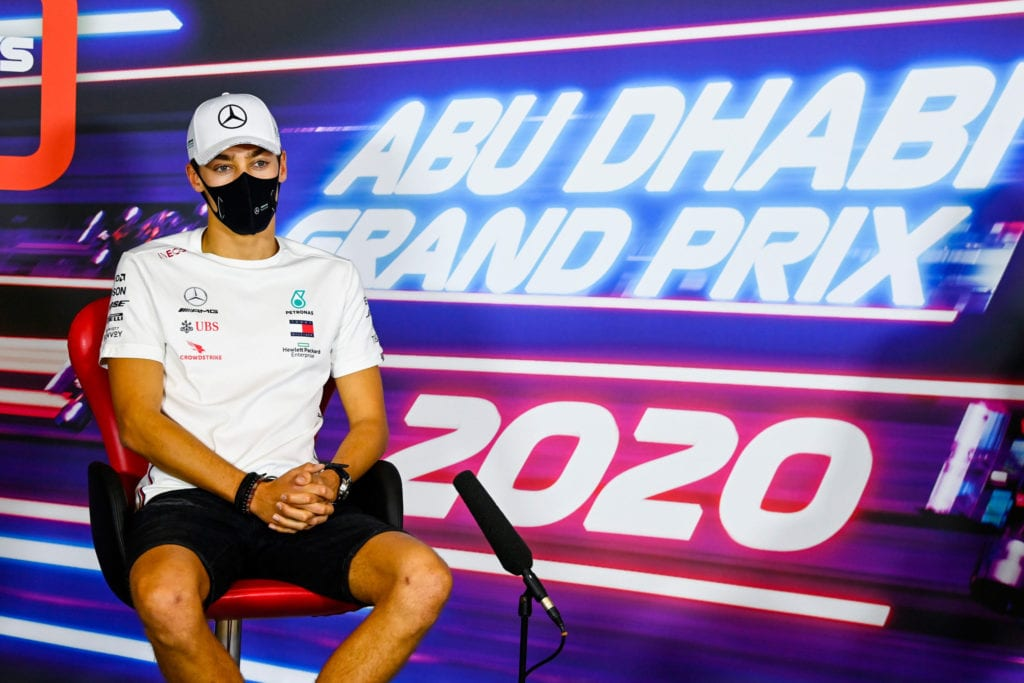 George Russell in the Abu Dhabi Press Conference. © XPB Images