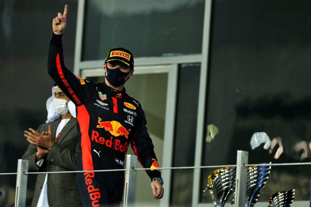 Verstappen celebrates on the podium © XPB Images