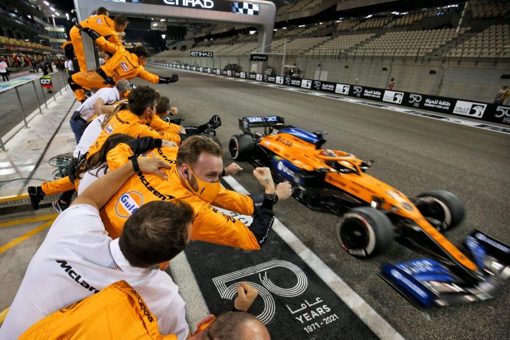 McLaren celebrates as Carlos Sainz finishes the race © XPB Images