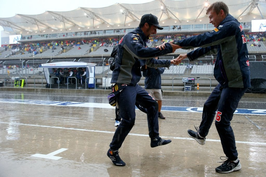 Daniel Ricciardo and Daniil Kvyat are understood to be in the running for the next series of Strictly Come Dancing with moves like this. © Red Bull Content Pool