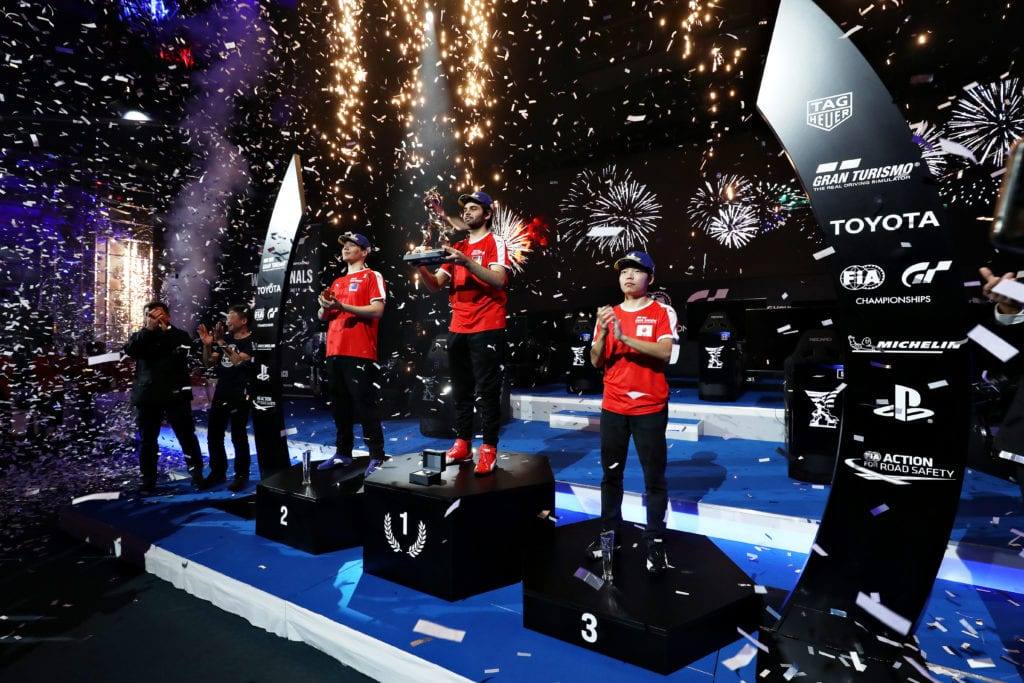 2019 Winner, Mikhail Hizal, celebrate on the podium of the Nations Cup during the Gran Turismo World Tour 2019 Finals held at Monte-Carlo Sporting on November 24, 2019 in Monte-Carlo, Monaco © Gran Turismo
