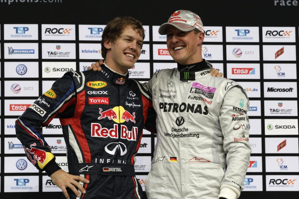 Sebastian Vettel and Michael Schumacher at the 2011 Race of Champions © XPB Images