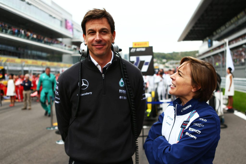 Toto Wolff pictured with Former Williams Deputy Team Principal Claire Williams on the grid at the 2015 Russian Grand Prix © XPB Images