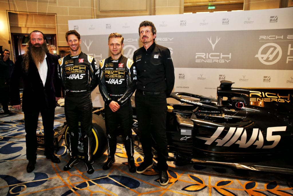 (L to R): William Storey, Romain Grosjean, Kevin Magnussen and Guenther Steiner © XPB Images